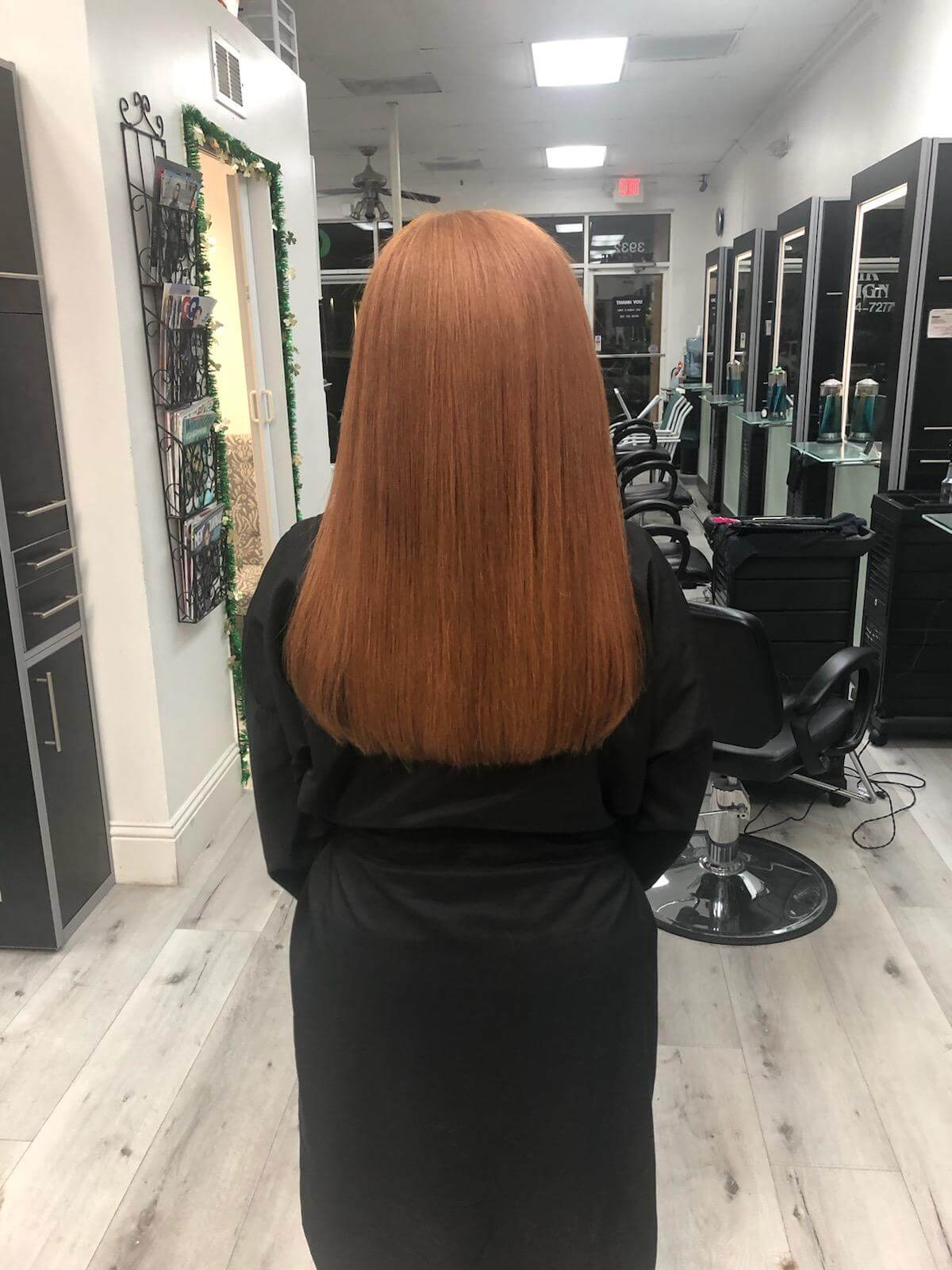 Long, silky smooth hair after a keratin treatment.